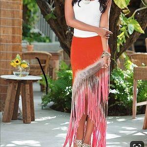 Venus Boho Tie Dye Fringe Maxi Skirt
